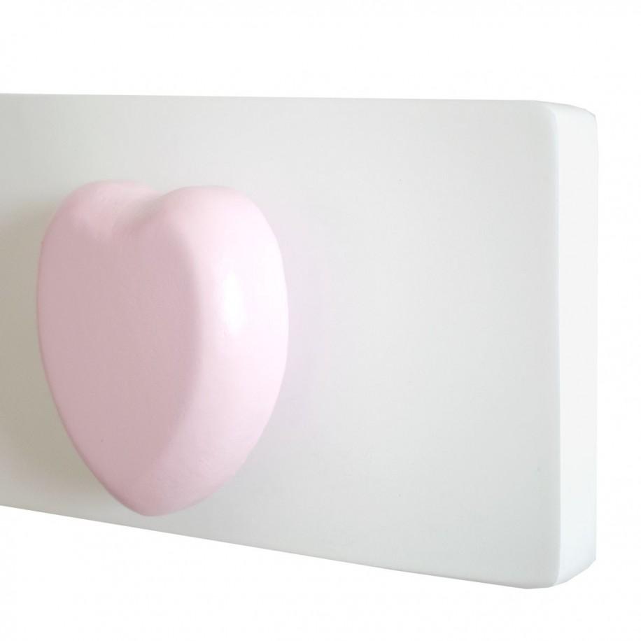 Dettaglio appendiabiti da parete cuore rosa
