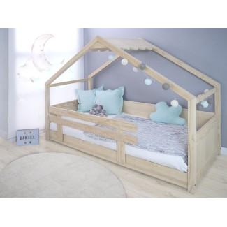 Letto Montessori a capanna legno naturale