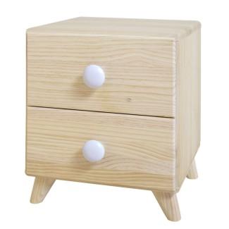 Comodino piccolo due cassetti legno naturale