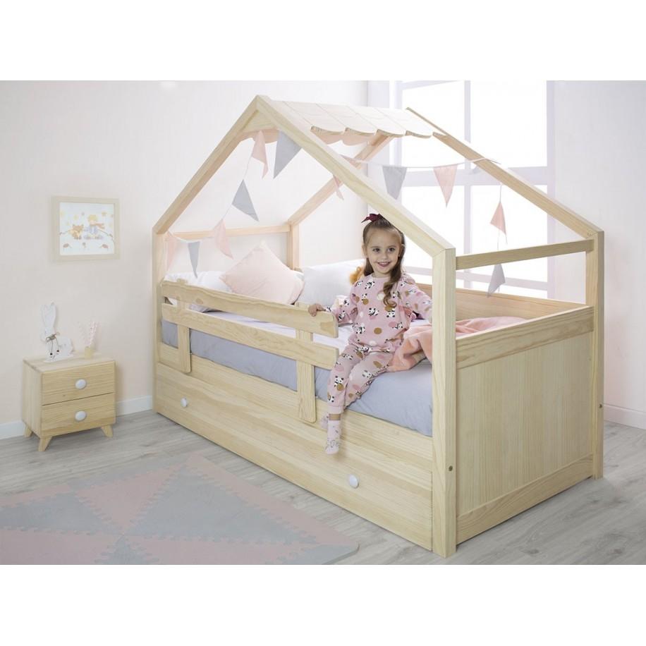 Letto per bambini in legno naturale