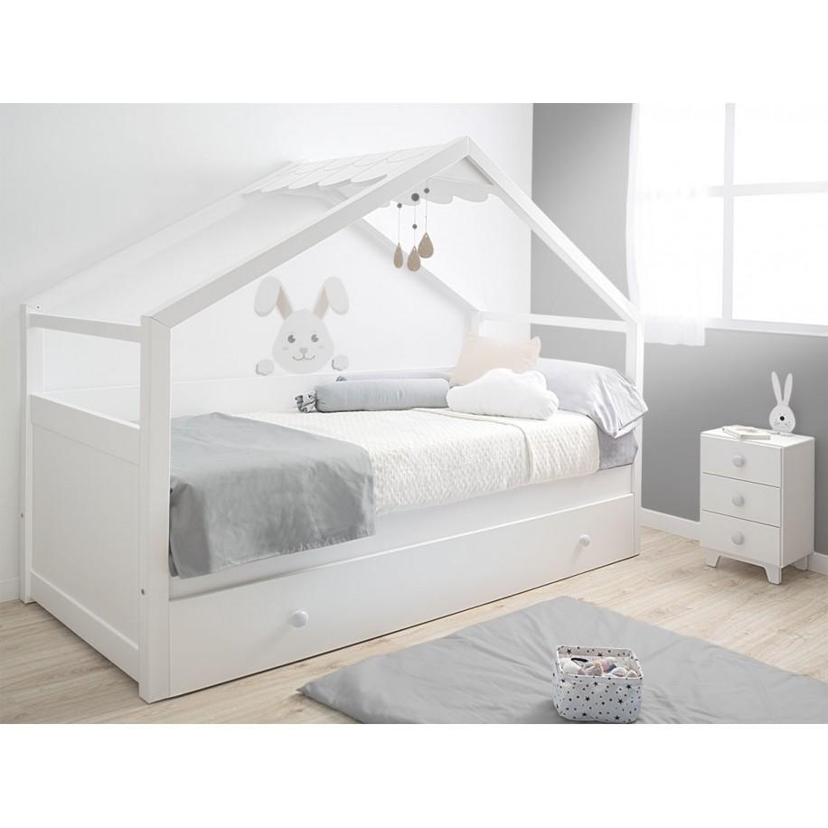 Letto a Casetta estraibile bianco camera per bambini