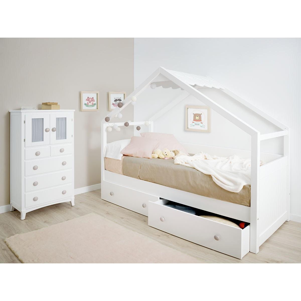 letto a casetta con cassetti bianco tetto