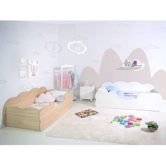 Camera da letto per bambini due letti Nuvola Bianca e Legno Naturale